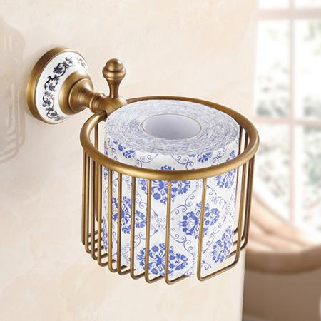 $56.45- Wall Mounted Roll Paper Holder Badket Antique Brass Bathroom Storage Shelf
