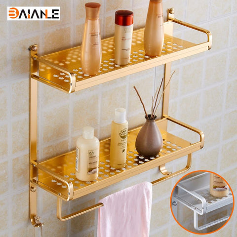 $53.10- Wall Mount Gold/Silvery Modern Double Layers Bathroom Towel Holder Aluminium Bathroom Accessories Shower Shelf Towel Rack