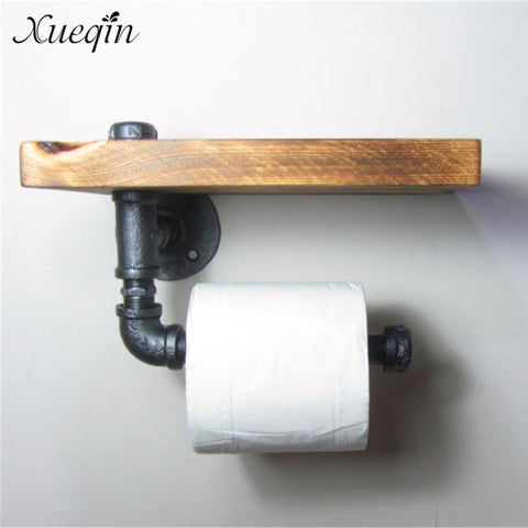 $39.76- Xueqin Bathroom Shelf High Quality Retro Iron Toilet Paper Holder Bathroom Hotel Roll Paper Tissue Hanging Rack Wooden Shelf