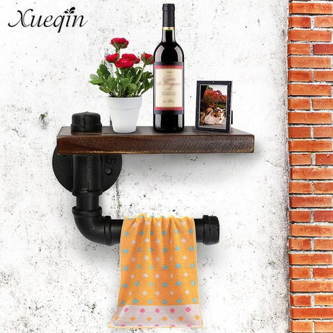 $39.76- Xueqin Bathroom Shelves Industrial Retro Iron Toilet Paper Holder Bathroom Hotel Roll Paper Tissue Hanging Rack Wooden Shelf