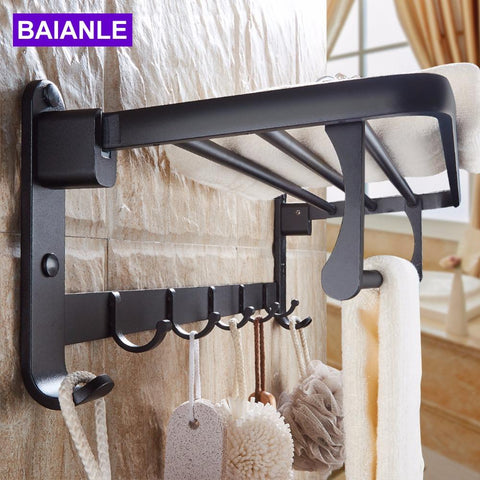 Black Space Aluminum Wall Mounted Foldable Bathroom Towel Rack Holders Shower Towel Rack Shelf Bar W/ Hooks
