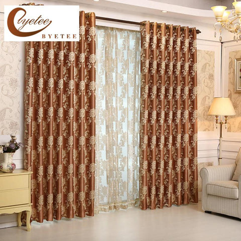 $24.48- {Byetee} Jacquard Luxury Curtains European Blackout Window Curtains For Living Room Bedroom Drapes Curtain Fabrics Kitchen Door