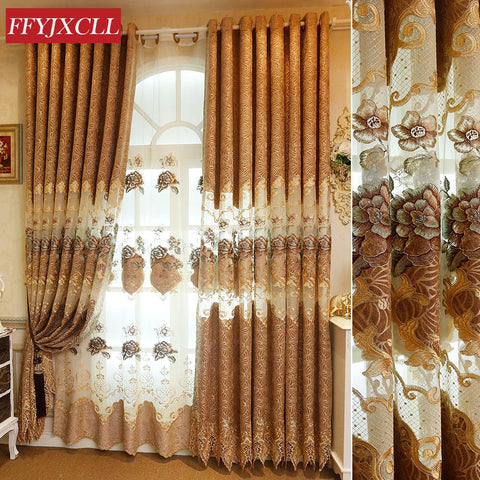 $37.66- Decor Custom Made Luxury Villas Brown Flower Curtain Window For Living Room Bedroom Embroidered Tulle