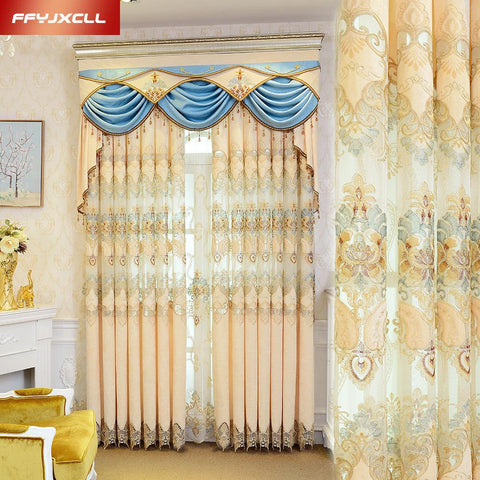 $33.64- Pretty Tulle Luxury Embroidered Valance Curtain Fabric For Living Room Bedroom Window Treatment Drapes Decoration