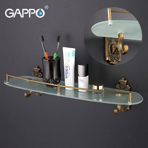 Gappo Wall Mount Bathroom Shelves Stainless Steel Bath Glass Shelf Holders Double Layer Storage Shelf Towel Hanger Shower Stand