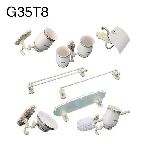Gappo 9Pc/Set Bathroom Sets Towel Bar Paper Holder Toothbrush Holder Glass Shelf Toilet Brush Holder Bathroom Accessories G35T8