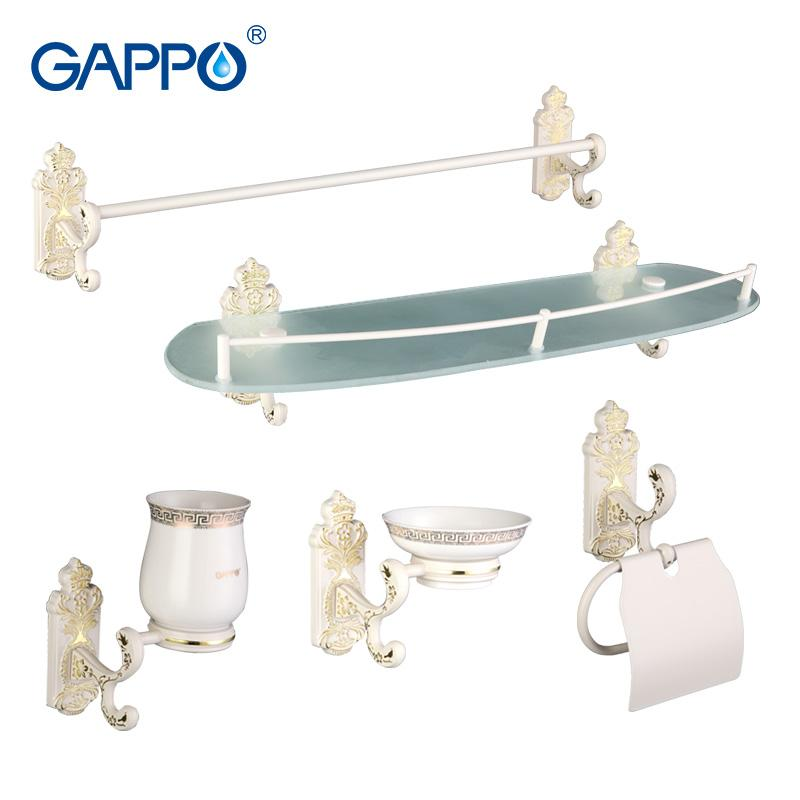 Gappo 5Pc/Set Bathroom Accessories Towel Bar Soap Dish Toothbrush Holder Paper Holder Glass Shelf Bath Hardware Sets G35T5