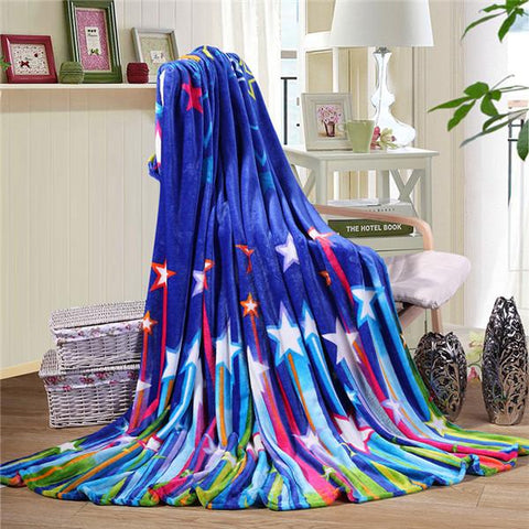 $25.30- Modern Style Blue Star Pattern Soft Throw Blanket Warm Coral Plaid Blankets Travel Flannel Sofa Fleece Blankets For Bed Warm