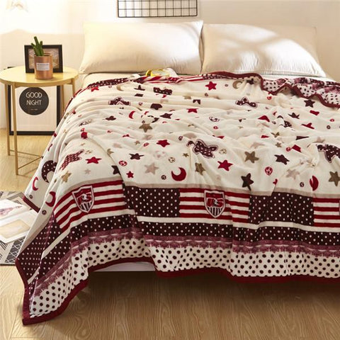 $42.62- Chinese Classical Red Peony Pattern Christmas Gifts Thick Ferret Velvet Throw Blanket Layers Adult Soft Star Blankets Warm