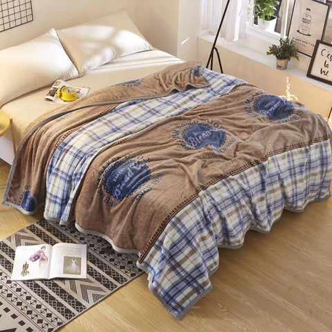 $42.62- Fashionable Lovely Green Cactus Pattern Christmas Gifts Thick Ferret Velvet Throw Blanket Layers Blue Grid Blanket Adult Soft