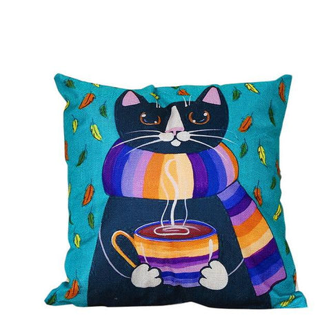 $8.91- Urijk 1Pc Creative Pillow Decorative For Home Cartoon Cushion Cover For Child Lovely Cat Fish Printed Throw Pillows Home Decor