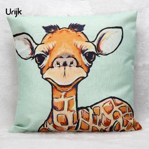 $7.51- Urijk 1Pc Cute Giraffe Pattern Pillow Cover Decorative Throw Pillows Cotton Linen Pillow Cover Square For Living Room