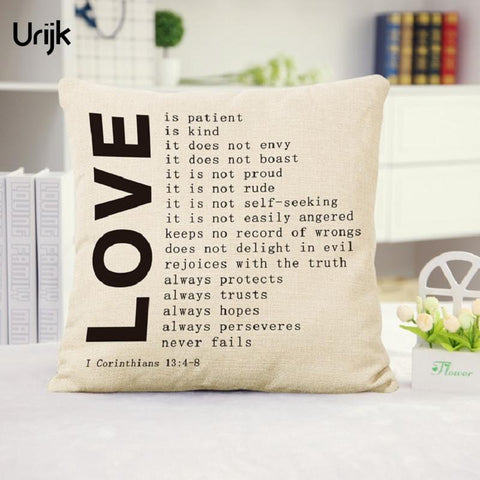 $8.32- Urijk 1Pc Top Quality Pillow Cases Love Letter Pattern Pillow Cover Bedroom Decorative Pillowcases Cotton Linen Pillow Covers
