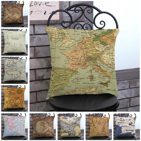 $8.08- Urijk 1Pc Vintage World Map Style Pattern Cushion Cover Cotton Linen Pillow Cover Decorative Home Sofa Pillows Home Decor