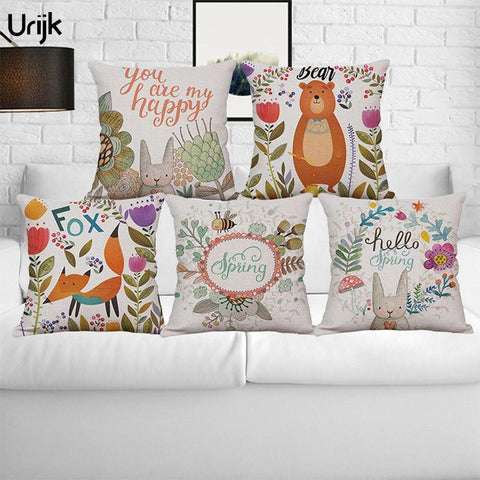 $6.67- Urijk 1Pc Ins Style Cartoon Print Cushion Cover Cute Animals Decorative Pillows For Children Linen Square Throw Pillow Decors