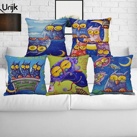 $6.75- Urijk 1Pc Cute Blue Owl Print Cushion Cover Decor For Children Cotton Linen Square Decorative Pillows Funny Cushion For Car