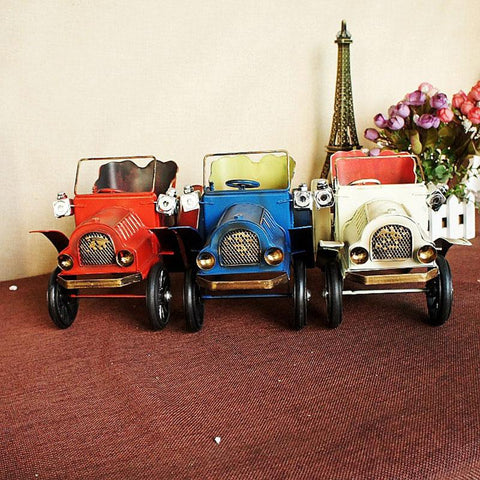 Home Decor Vintage Iron Car Craft Bubble Car Model Furniture Desktop Craft Decors Miniature Figurines For Children Toy Birthday