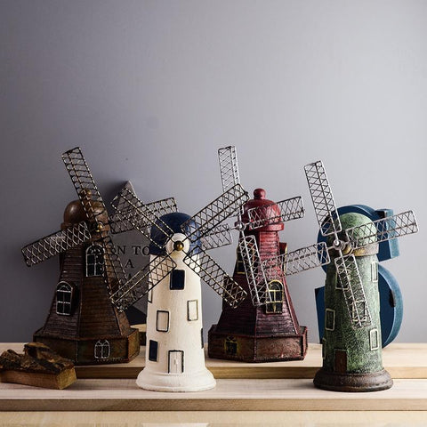 $39.20- Creativity Christmas Gift Home Decoration Resin Netherlangish Windmills Model Furniture Figurines Miniatures Handwork Craft
