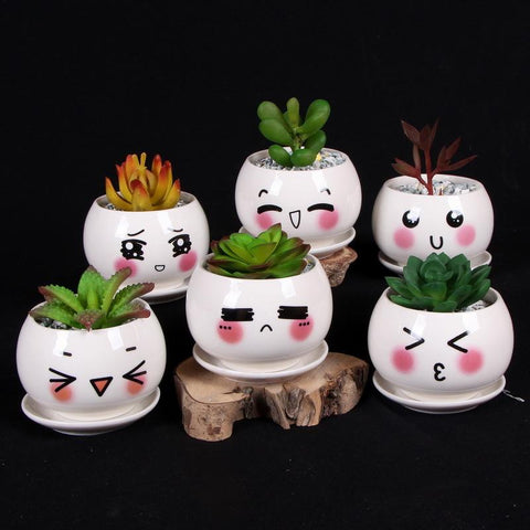 $57.60- 6Pcs/Set Cute Porcelain Flower Pot Emoji Garden Pot Ceramic Vase Desktop Pencil Organizer Storage Box Plants Pot Home Decoration