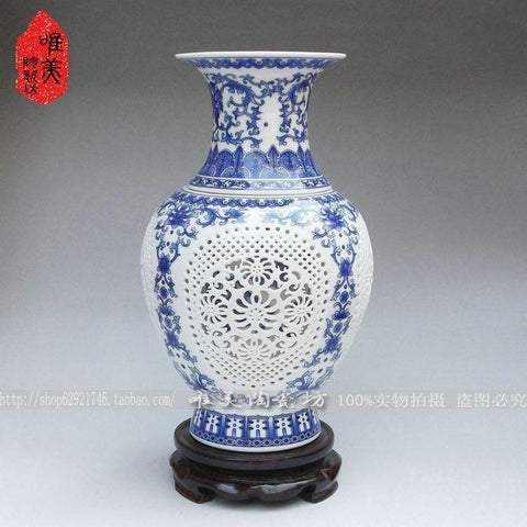 $247.10- Ceramics Blue White Cutout Bottle Double Layer Cutout Sculpture Vase Blue White Porcelain Fish Tail Bottle