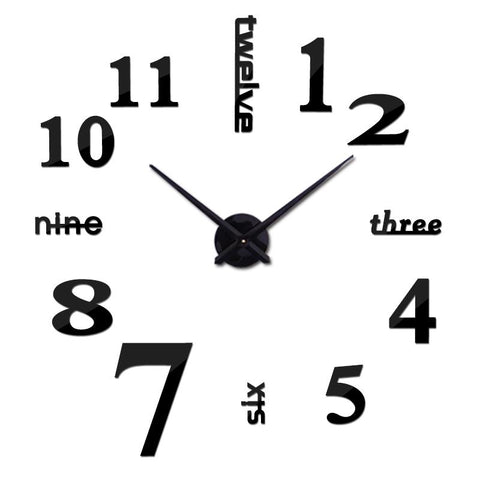 $13.71- New Fashion Diy Acrylic Mirror Wall Clock Europe 3D Big Quartz Watch Still Life Clocks Living Room Home Decoration Stickers