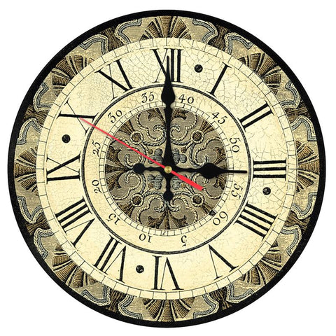New Wall Clock Wooden Clocks Home Decor Quartz Watch Single Face Still Life Roman Number Stickers Modern Living Room