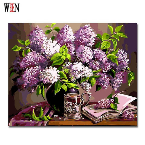 $28.78- Ween Purple Flower Paintng By Numbers Modern Diy Digital Wall Art Picture For Home Decor Gift Coloring By Numbers Wall Artwork