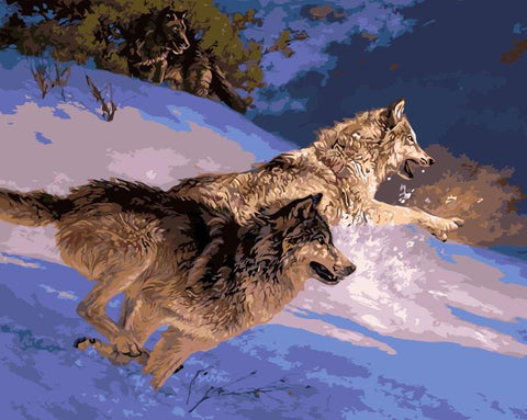 $16.09- Frameless Animal Snow Wolf Diy Painting By Numbers Kits Coloring Oil Painting On Canvas Drawing Home Artwork Wall Art Picture