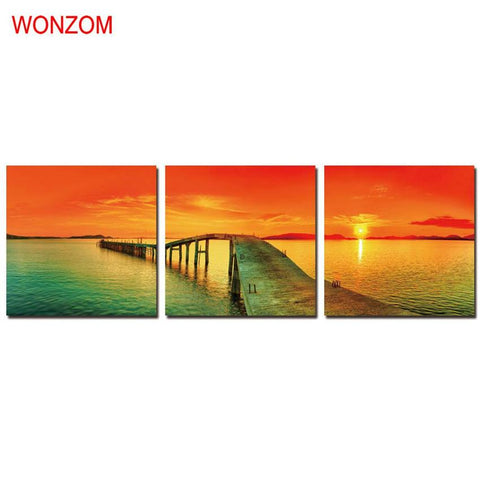 $41.89- Framed Sunset Lake Pier 3Pcs Canvas Art Print Poster Wall Art Quadros De Parede Sala Estar Com Moldura Cool Christmas Gift