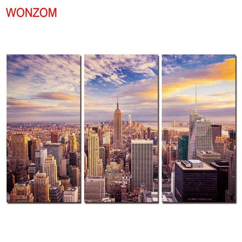 $28.24- Dusk Modern City Decorative Pictures Canvas Art Wall Christmas Canvas Pictures For Home Decor 3Pcs Posters Prints Quotes