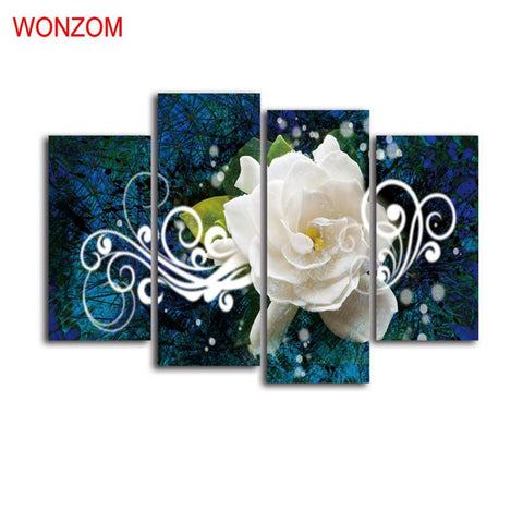 $29.03- Elegant White Flower Canvas Art Print Poster Cuadros Decoracion Vintage Modern Wall Christmas Canvas Picture For Home Decor Gift