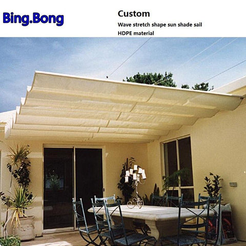 $230.00- Custom Wave Stretch Shape Sun Shade Sail Hdpe Material Shading Hang Curtain Sunshade Gazebos Canopy Curtains Sun Screen Awnings