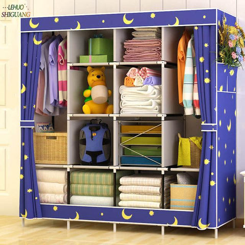 Family Wardrobe Nonwoven Fabric Steel frame reinforcement Standing Storage Organizer Detachable Clothing Closet furniture