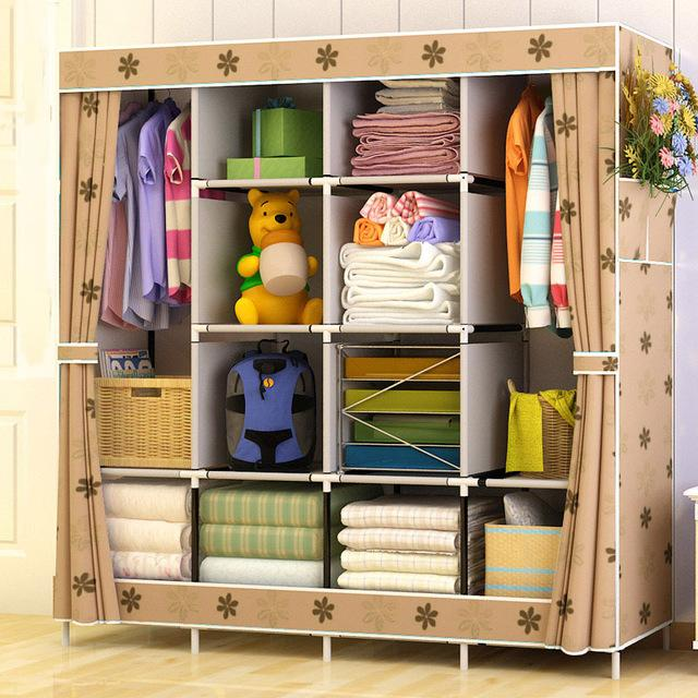 $87.10- Family Wardrobe Nonwoven Fabric Steel frame reinforcement Standing Storage Organizer Detachable Clothing Closet furniture
