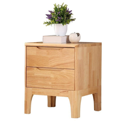Full Nordic Bedside Cabinet Minimalist Modern Creative Oak Bedroom W/ Mini Cupboards