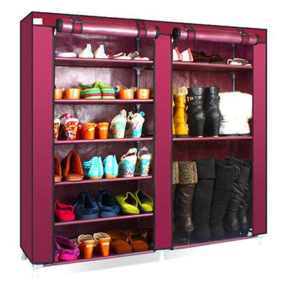 Solid Color Double Rows High Quality Shoes Cabinet Shoes Rack Large Capacity Shoes Storage Organizer Shelves DIY Home Furniture