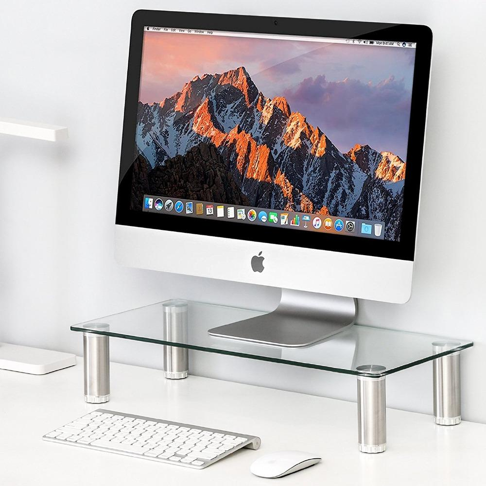 $120.79- Fitueyes Clear Computer Monitor Riser Save Space Desktop Stand height adjustable DT105001GC