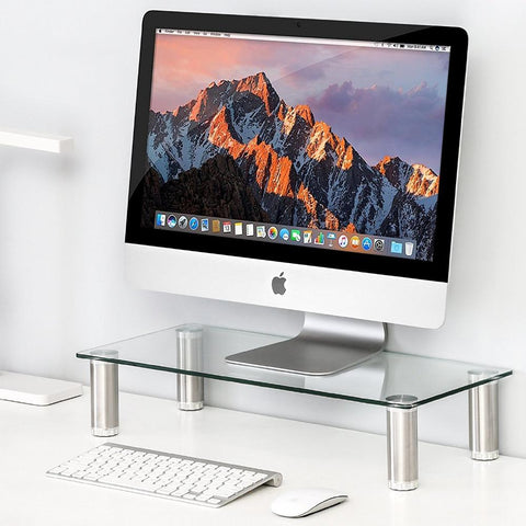 $53.95- Fitueyes Clear Computer Monitor Riser Save Space Desktop Stand height adjustable DT105001GC