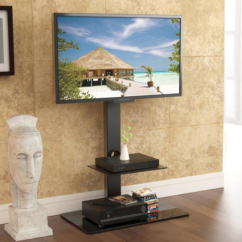 Fitueyes Swivel Floor TV Stand with Mount with height adjustable for 3265 inch TV LED LCD UP to 110LBS TT207001MB