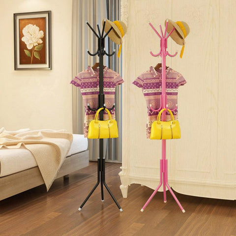 12 Hooks Iron Coat Rack Hanging Hanger Floor Interior Interior Hall Bedroom Fashion Iron Clothes Rack Hats Bags Clothes Shelf
