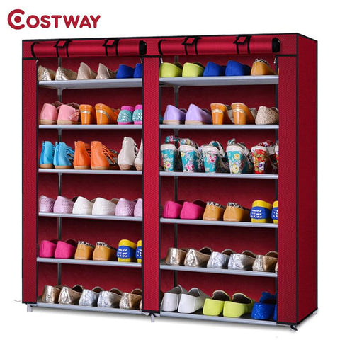 COSTWAY Nonwoven Shoe Cabinets Double Row Shoes Rack Stand Shelf Shoes Organizer Living Room Bedroom Storage Furniture W0123