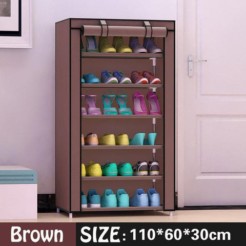$51.66- Shoe cabinet 6layer 5grid Nonwoven fabrics large shoe rack organizer removable shoe storage for home furniture