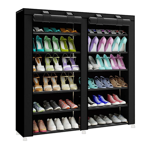 $64.78- Fashion minimalist creative nonwoven doublerow home shoes organizer modern shoes cabinet shoes closet multipurpose shoes rack