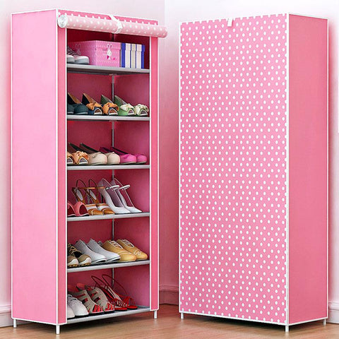 $53.23- Shoe rack 7layer 6grid Multi Color Nonwoven fabrics shoe cabinet shoe organizer removable shoe storage for home furniture