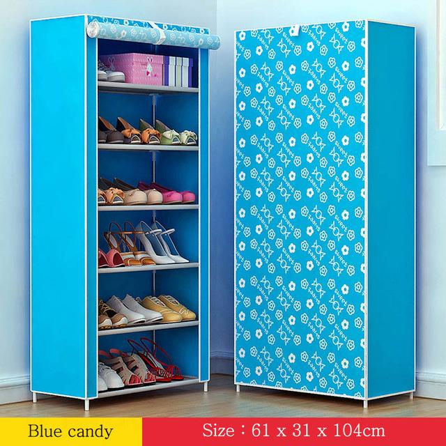 Shoe rack 7layer 6grid Multi Color Nonwoven fabrics shoe cabinet shoe organizer removable shoe storage for home furniture