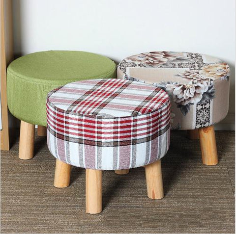 Simple Modern Fashion Stool Wood Furniture Home Outdoor Stool Super Soft Lining Fabric Shoes Stool Living Room Footstool Chair