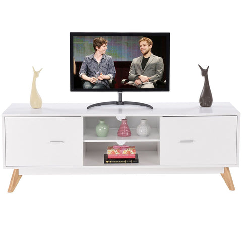 $306.41- Giantex Modern Tv Stand Entertainment Center Console Cabinet Stand 2 Doors Shelves White Wood Living Room Furniture Hw57020