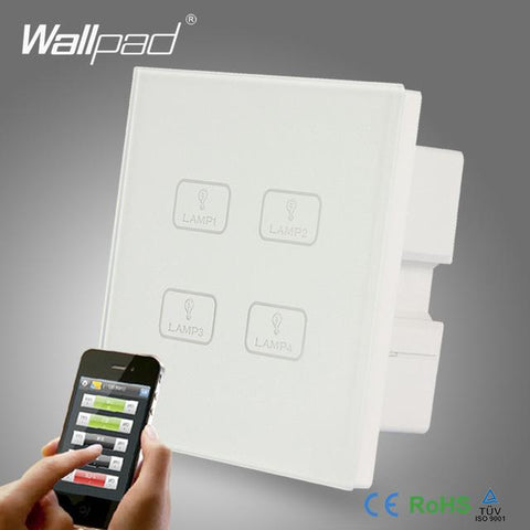 $60.31- Smart Wifi 4 Gang Switch New Design Wallpad White Crystal Glass 4 Gang Phone Wireless App Remote Wifi Touch Control Light Switch