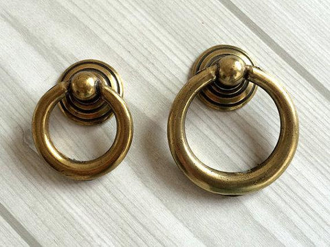 $5.05- Antique Bronze Dresser Pulls Drawer Pull Handles Drop Ring Pulls / Shabby Chic Vintage Style Cabinet Knobs Rings Hardware