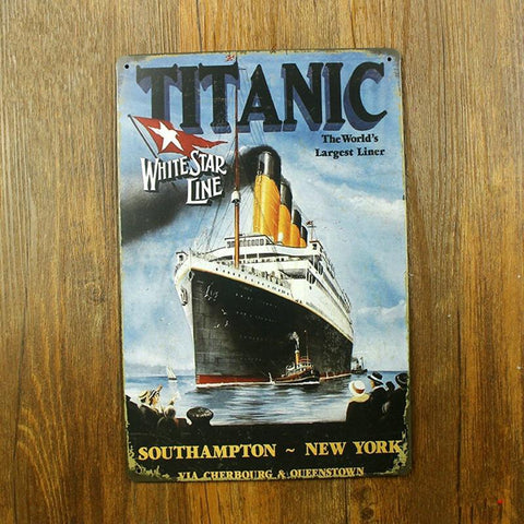 $12.60- Titanic White Star Line The World'S Largest Liner Letter Vintage Home Decor Shabby Chic Metal Sign Bar Cafe Pub Vintage Tin Sign